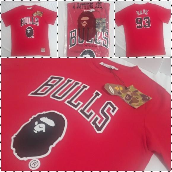 ff17e941b Bape x Mitchell and Ness Chicago Bulls Shirt L
